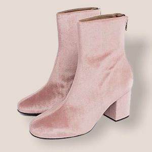 Free People Dusty Rose Cecile Heeled Velvet Boots